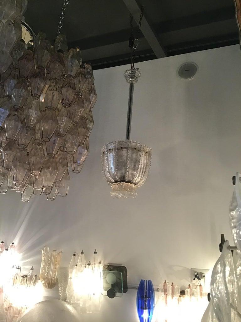 Venini Chandelier 1940 Murano Glass Iron Brass, Italy For Sale 2