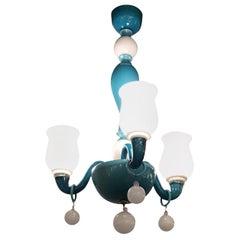 Venini Chandelier 1955 Murano Glass Iron Brass, Italy