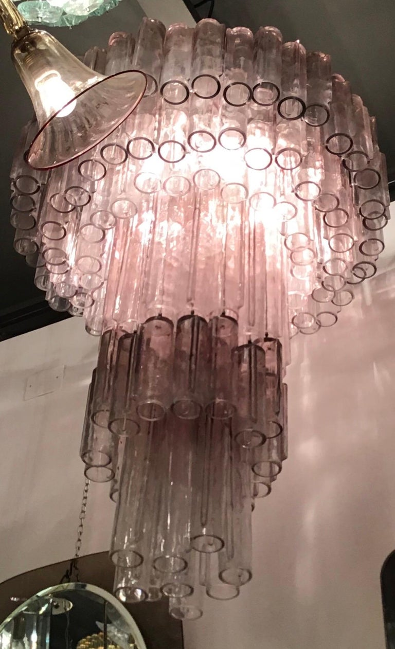 """Venini Chandelier """"Calza"""" Ludovico Diaz de Santillana Murano Glass, 1950, Italy For Sale 9"""