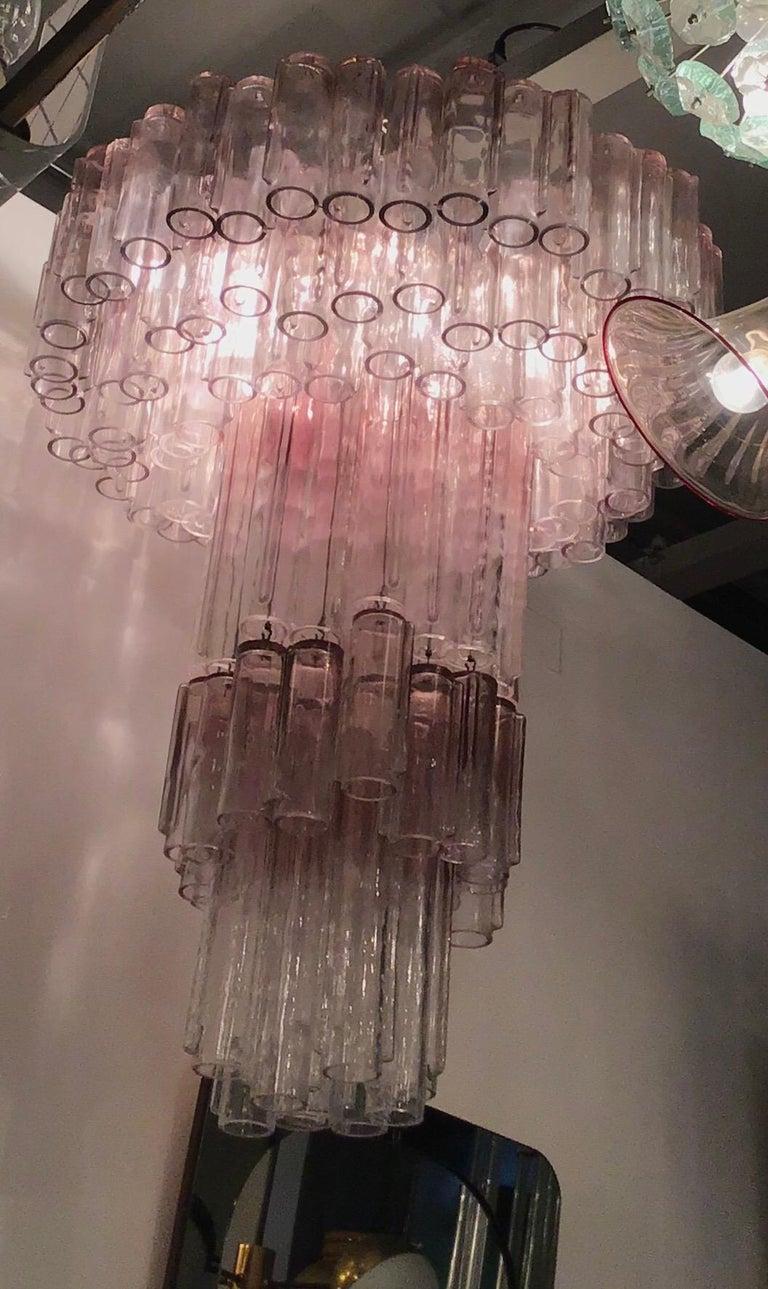 """Venini Chandelier """"Calza"""" Ludovico Diaz de Santillana Murano Glass, 1950, Italy For Sale 12"""