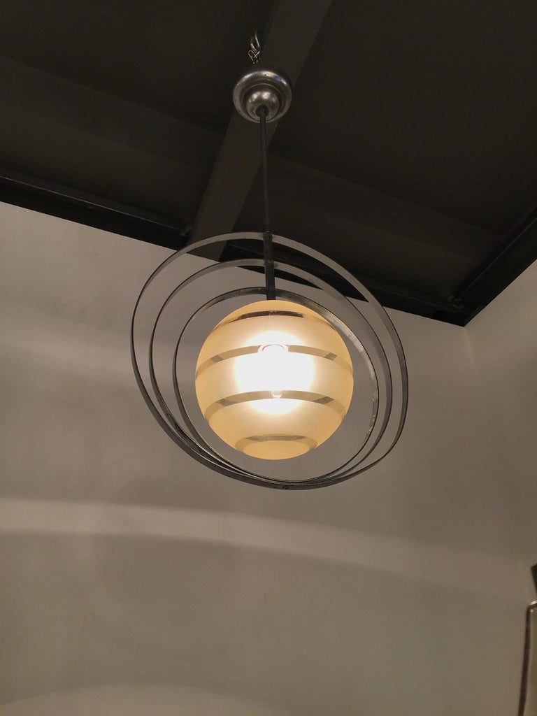 Venini Chandelier Glass Metal Crome, 1940, Italy In Excellent Condition For Sale In Milano, IT