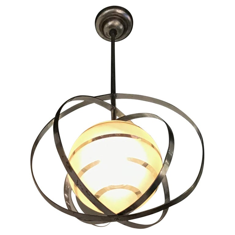Venini Chandelier Glass Metal Crome, 1940, Italy For Sale
