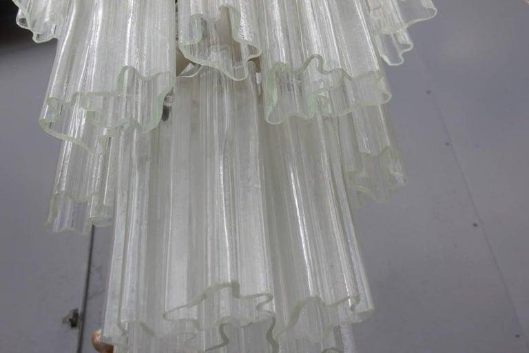 Metal Venini Chandelier Mid-Century Modern Italian Design Murano Glass 1950  For Sale