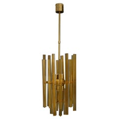 Venini Chandelier Midcentury in Gilded Glass and Brass Elegant, 1950