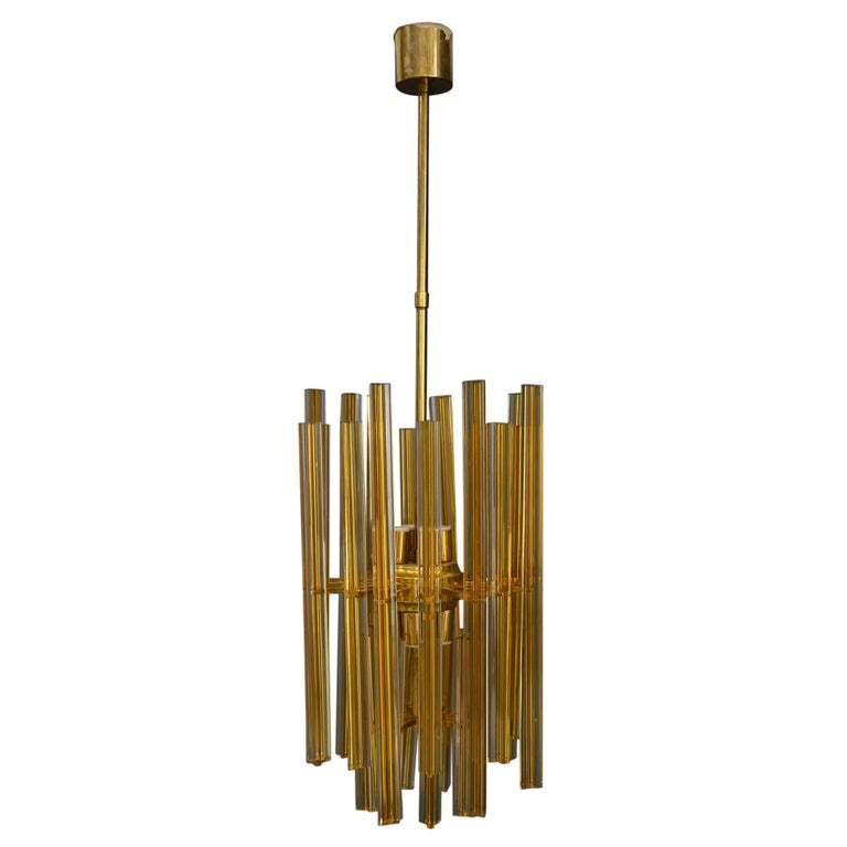 Venini Chandelier Midcentury in Gilded Glass and Brass Elegant, 1950 For Sale
