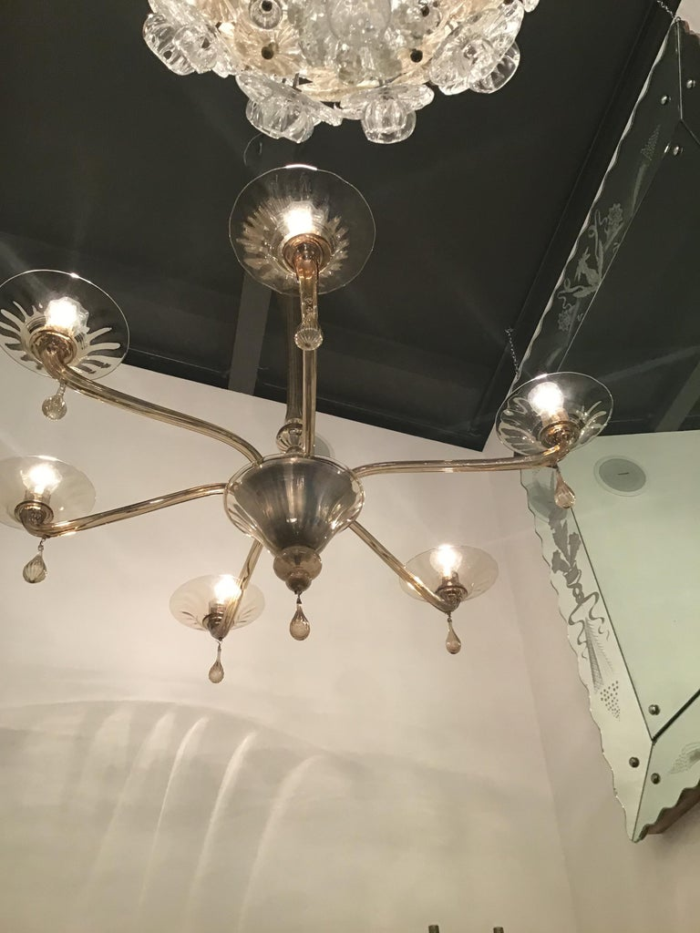 Venini Chandelier Murano Glass 6 Lights, Iron and Murano Glass, 1940, Italy For Sale 7