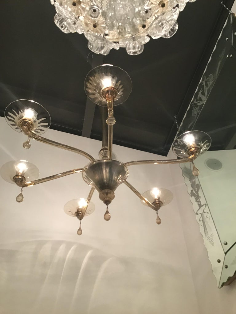 Venini Chandelier Murano Glass 6 Lights, Iron and Murano Glass, 1940, Italy For Sale 8