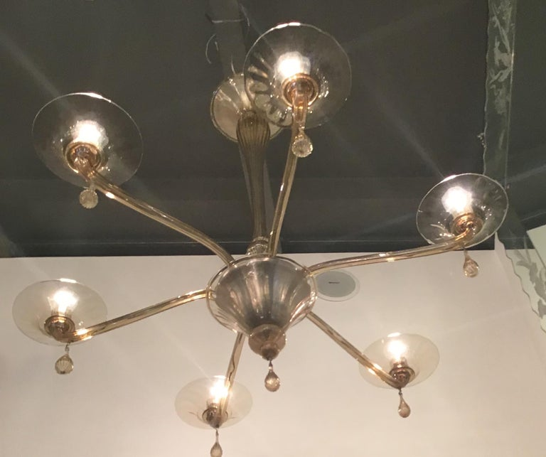 Other Venini Chandelier Murano Glass 6 Lights, Iron and Murano Glass, 1940, Italy For Sale