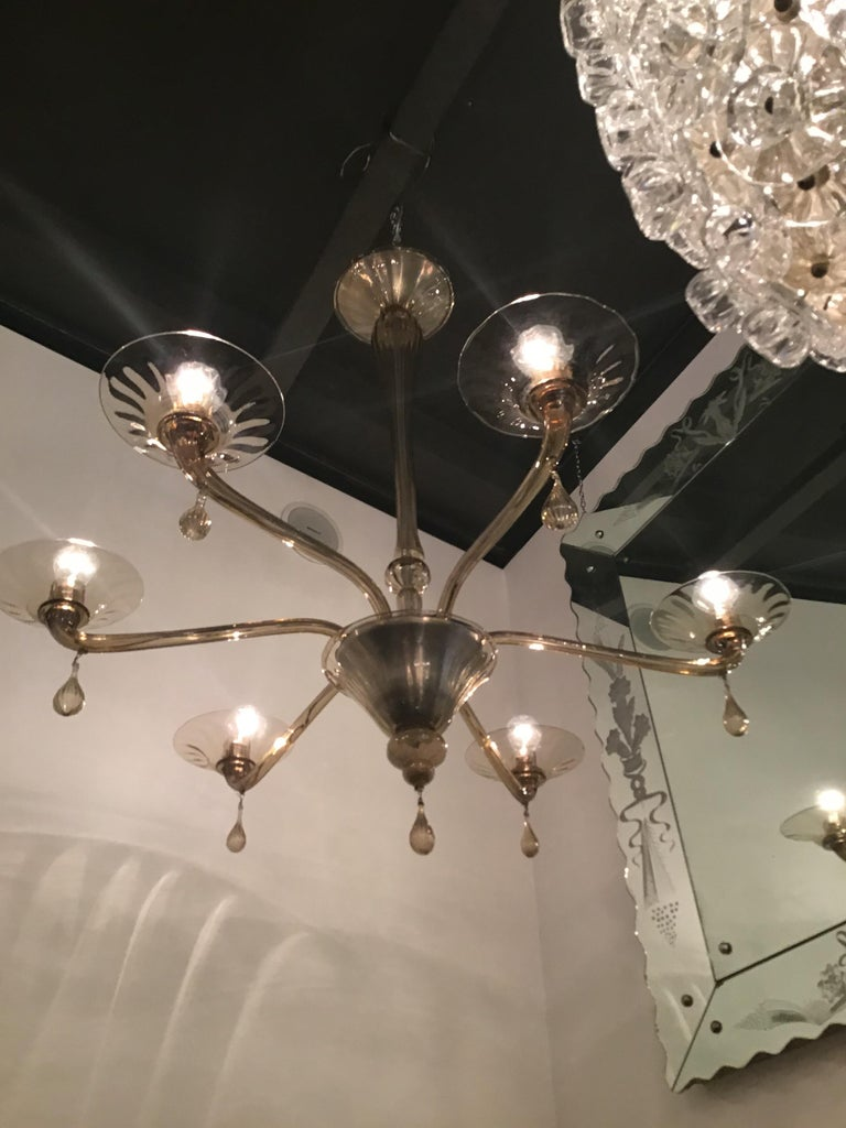 Mid-20th Century Venini Chandelier Murano Glass 6 Lights, Iron and Murano Glass, 1940, Italy For Sale