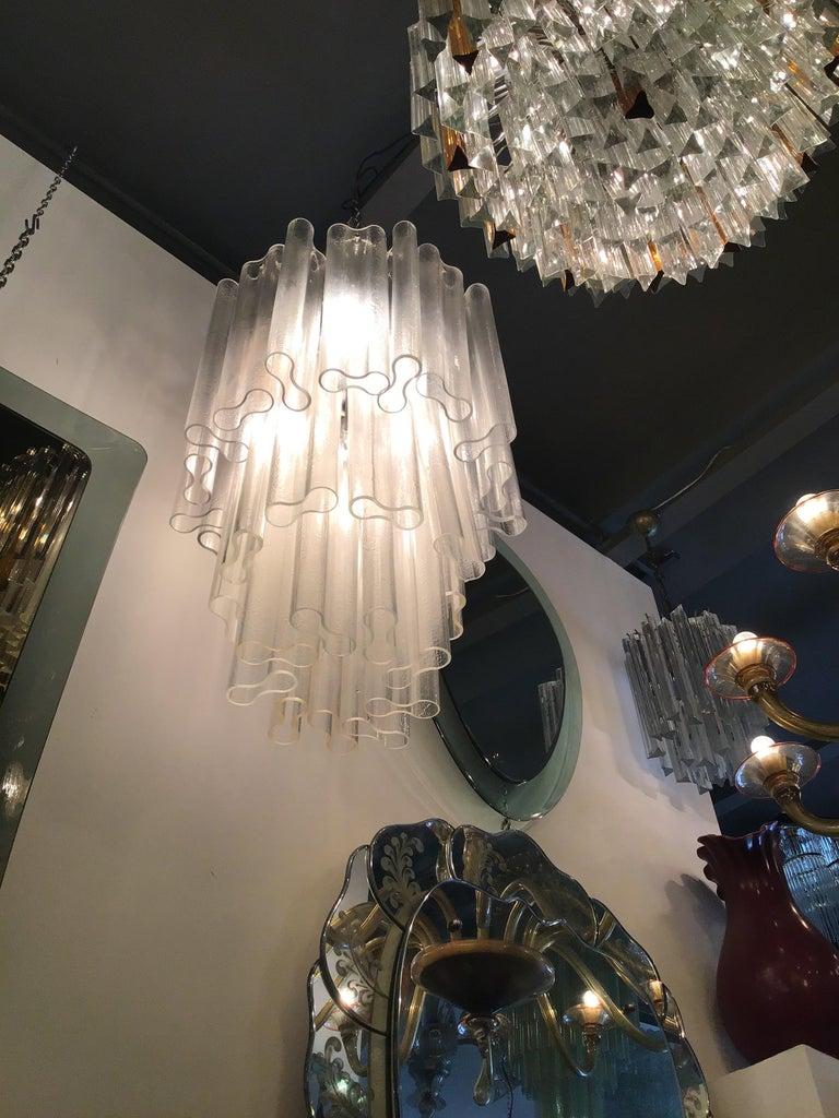Venini Chandelier Murano Glass Metal Crome, 1950, Italy For Sale 5