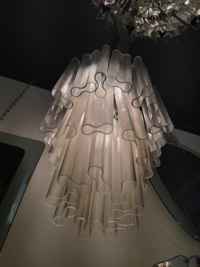 Venini Chandelier Murano Glass Metal Crome, 1950, Italy For Sale 8