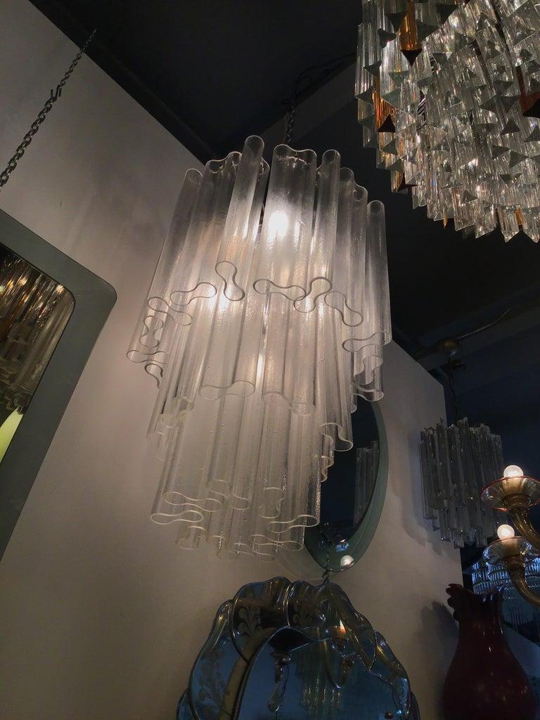 Venini Chandelier Murano Glass Metal Crome, 1950, Italy For Sale 1