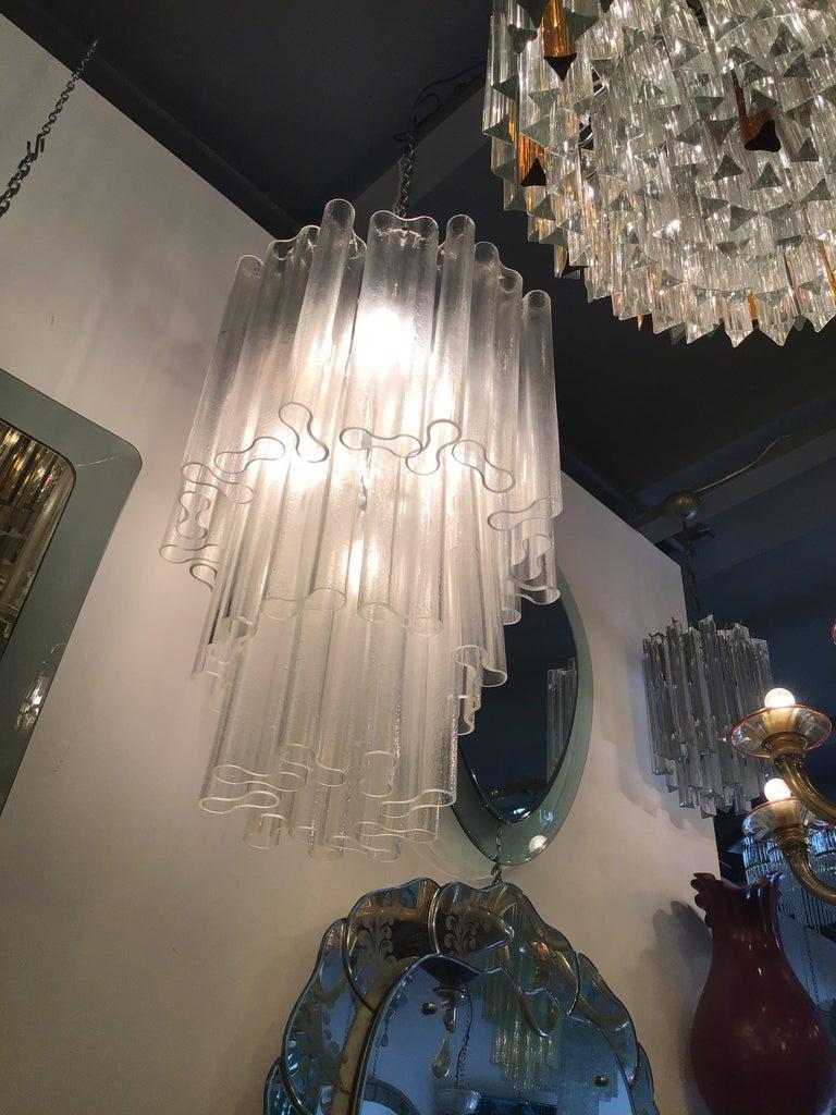 Venini Chandelier Murano Glass Metal Crome, 1950, Italy For Sale 3