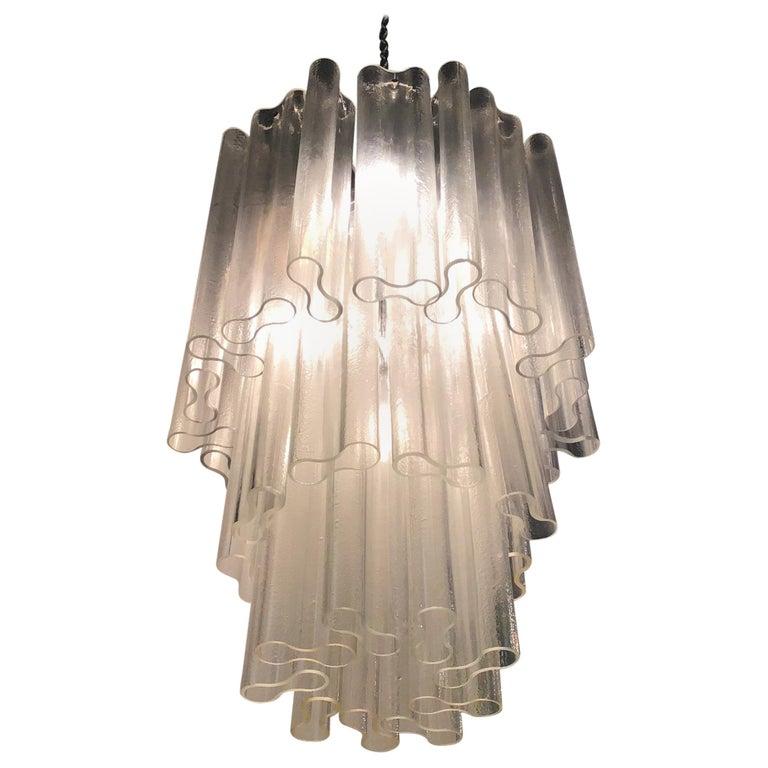Venini Chandelier Murano Glass Metal Crome, 1950, Italy For Sale