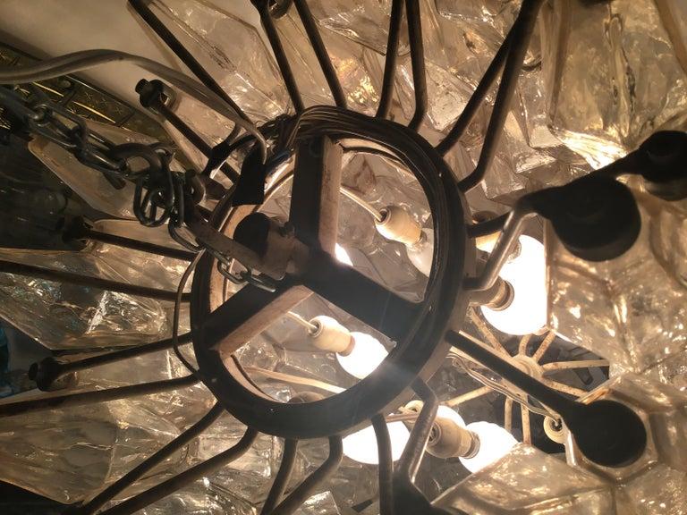 Glass Venini, Chandelier Poliedri 1950, Carlo Scarpa For Sale