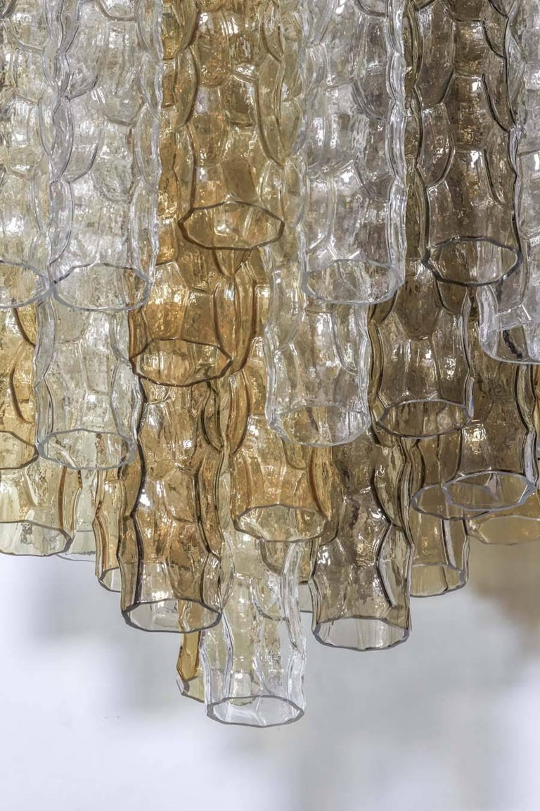 Brushed Venini Chandelier with Hand Blown Multicolored Murano Pendants, Italy c. 1970s For Sale