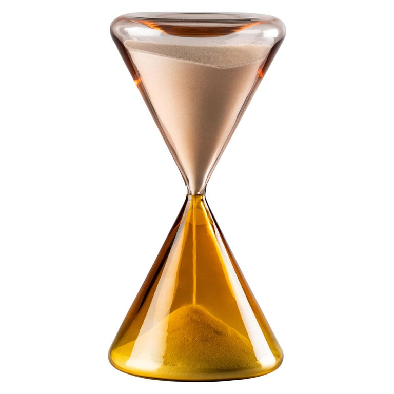 Venini Clessidra Hourglass in Amber and Pink Murano Glass For Sale