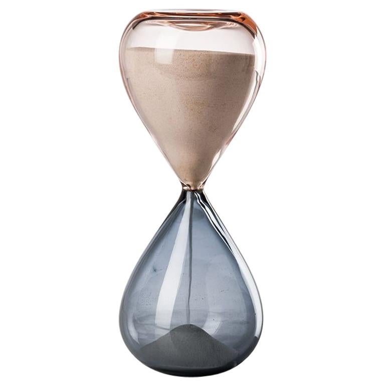 Venini Clessidre Glass Hourglass in Pink and Gray by Fulvio Bianconi For Sale