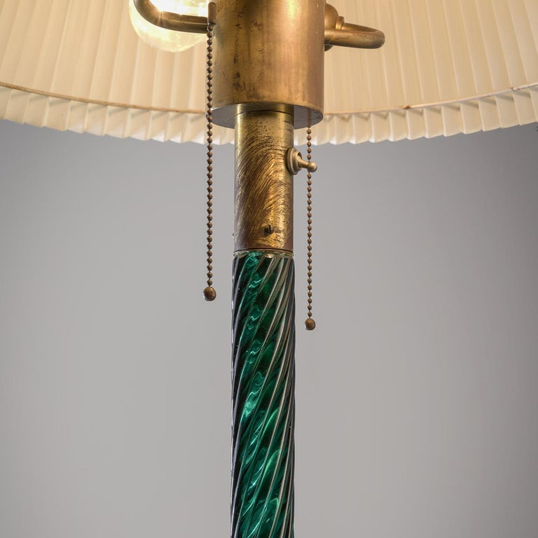 Mid-Century Modern Venini Costelature Floor Lamp in Green Murano Glass For Sale