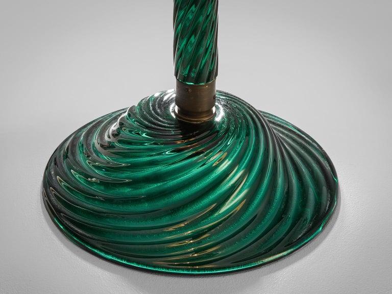 Venini Costelature Floor Lamp with Green Murano Glass In Good Condition For Sale In Waalwijk, NL