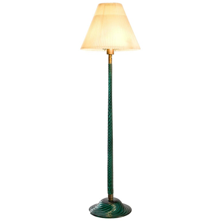 Venini Costelature Floor Lamp with Green Murano Glass For Sale