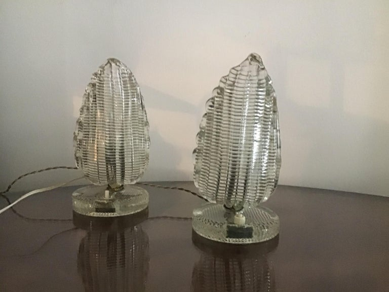Venini Couple Table Lamp Murano Glass Brass, 1940, Italy For Sale 8