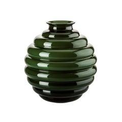 Venini Deco Glass Vase in Apple Green by Napoleone Martinuzzi