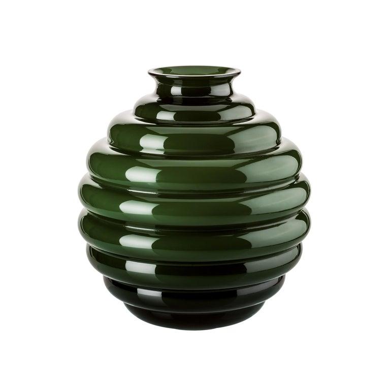 Venini Deco Glass Vase in Apple Green by Napoleone Martinuzzi For Sale