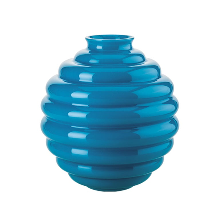 Venini glass vase in aquamarine designed by Napoleone Martinuzzi in 1930. Perfect for indoor home decor as container or statement piece for any room.   Dimensions: 26 cm diameter x 29 cm height.