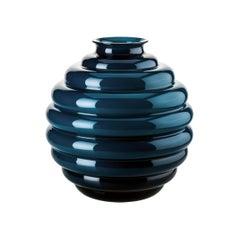 Venini Deco Glass Vase in Horizon Blue by Napoleone Martinuzzi
