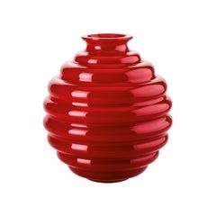 Venini Deco Glass Vase in Red by Napoleone Martinuzzi