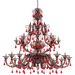 Venini Diamantei 21-Light Chandelier in Red
