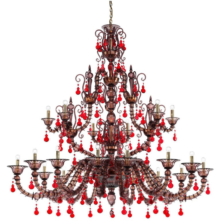 Venini Diamantei 21-Light Chandelier in Red For Sale