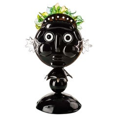 Venini Falstaff Figure in Black Glass with Green Crown by Alessandro Mendini