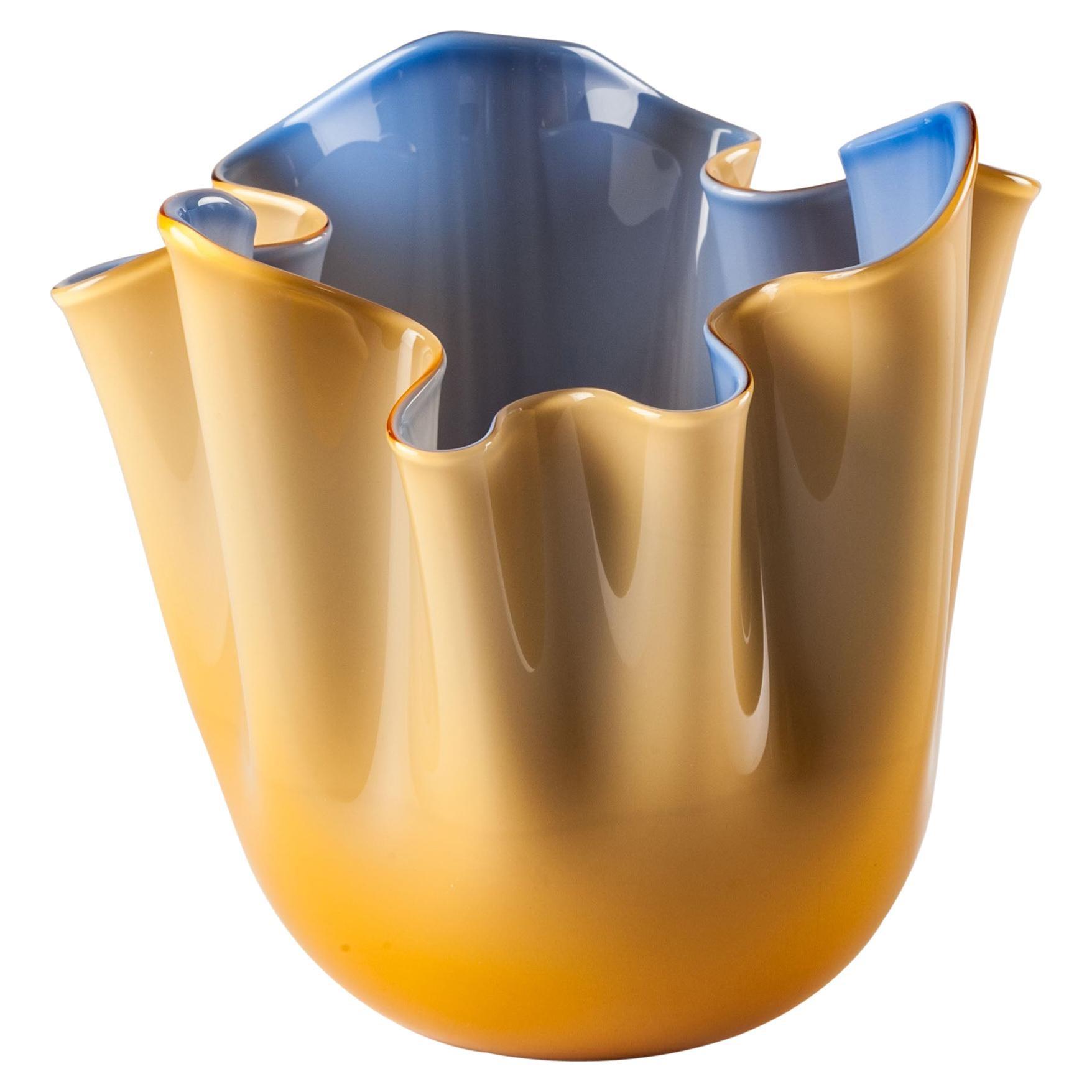 Venini Fazzoletto Bicolore Small Vase in Amber and Horizon Murano Glass