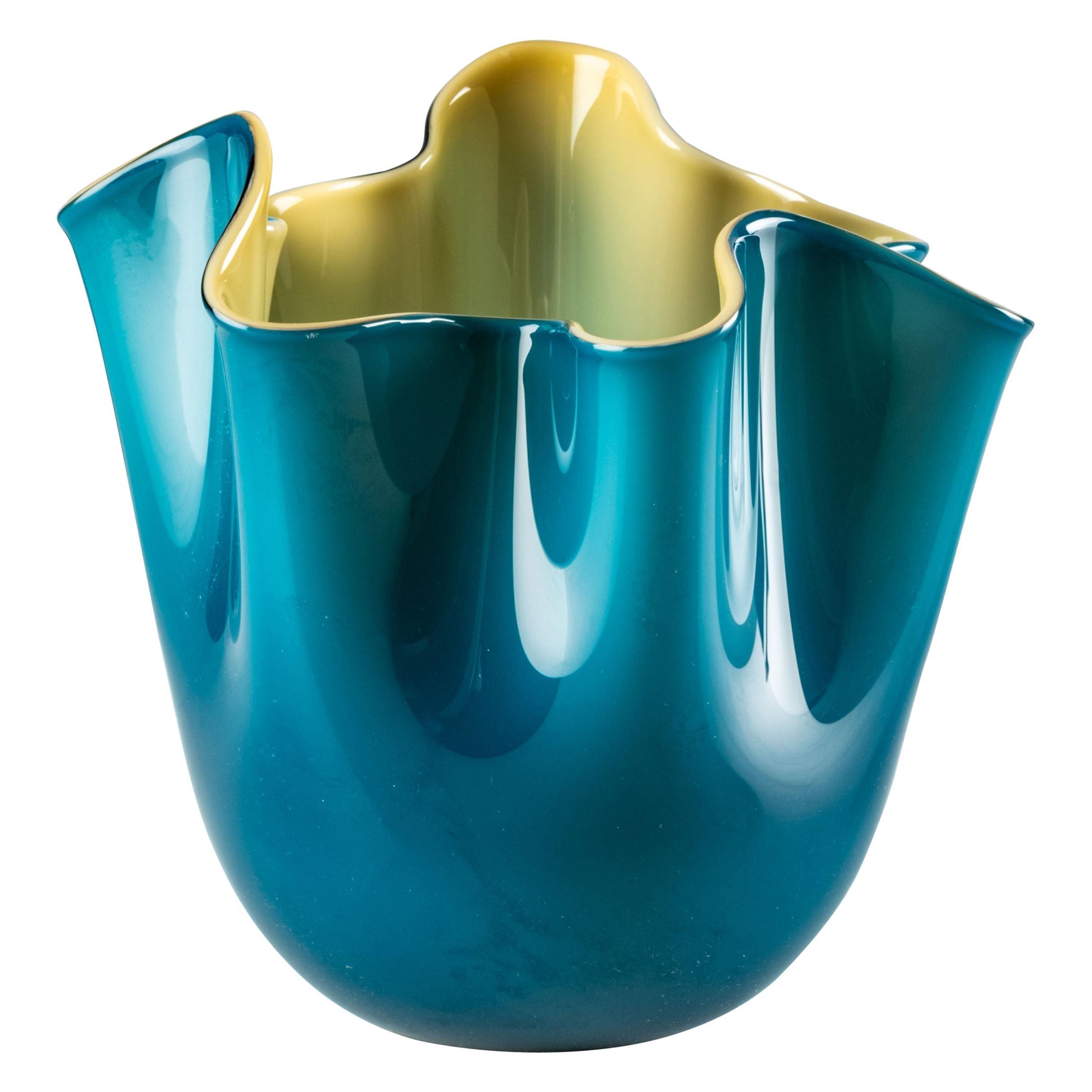 Venini Fazzoletto Bicolore Small Vase in Horizon and Amber Murano Glass