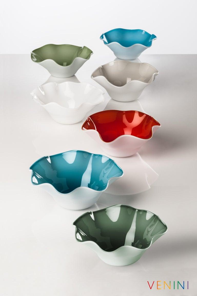 Modern Venini Fazzoletto Large Vase in Milk White by Fulvio Bianconi & Paolo Venini For Sale
