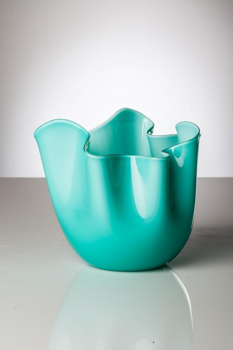 Italian Venini Fazzoletto Large Vase in Milk White by Fulvio Bianconi & Paolo Venini For Sale