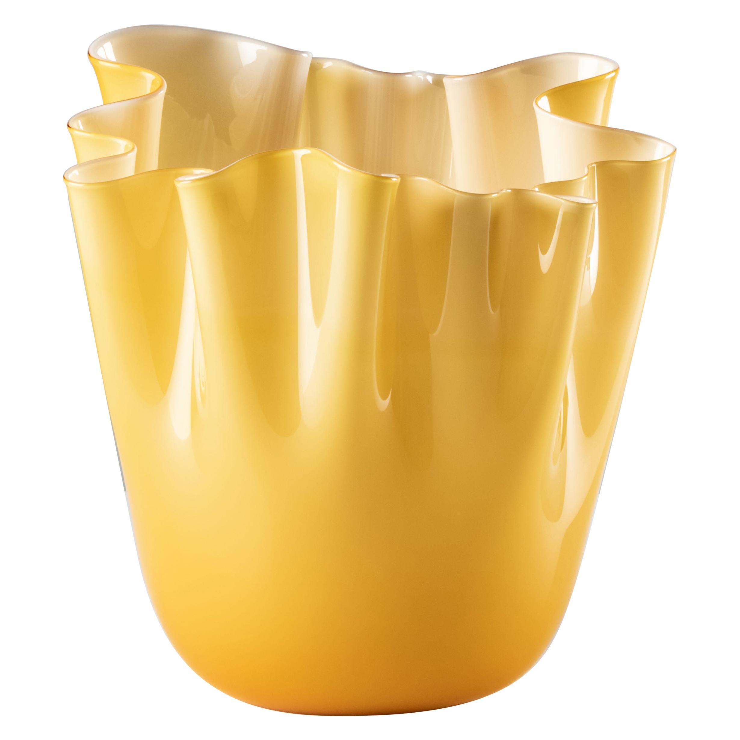 Venini Fazzoletto Opaline Large Vase in Amber Murano Glass