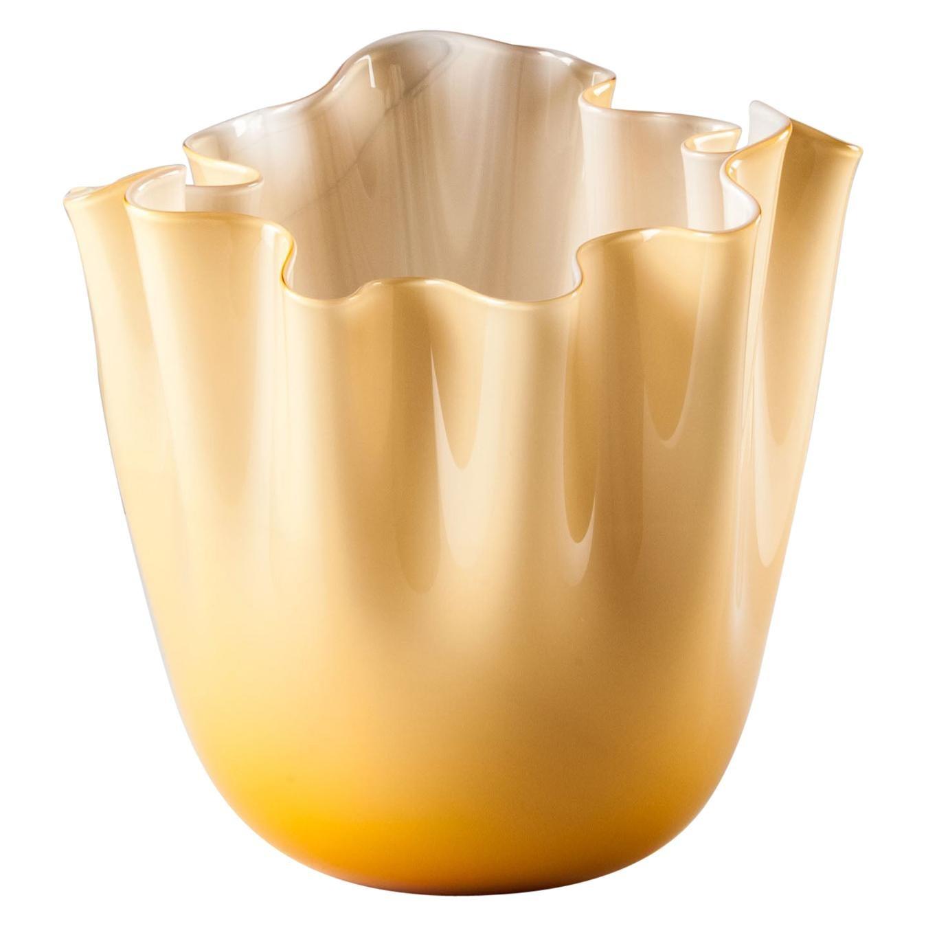 Venini Fazzoletto Opalino Medium Vase in Amber Murano Glass