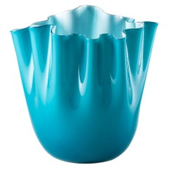 Venini Fazzoletto Opalino Medium Vase in Horizon Murano Glass