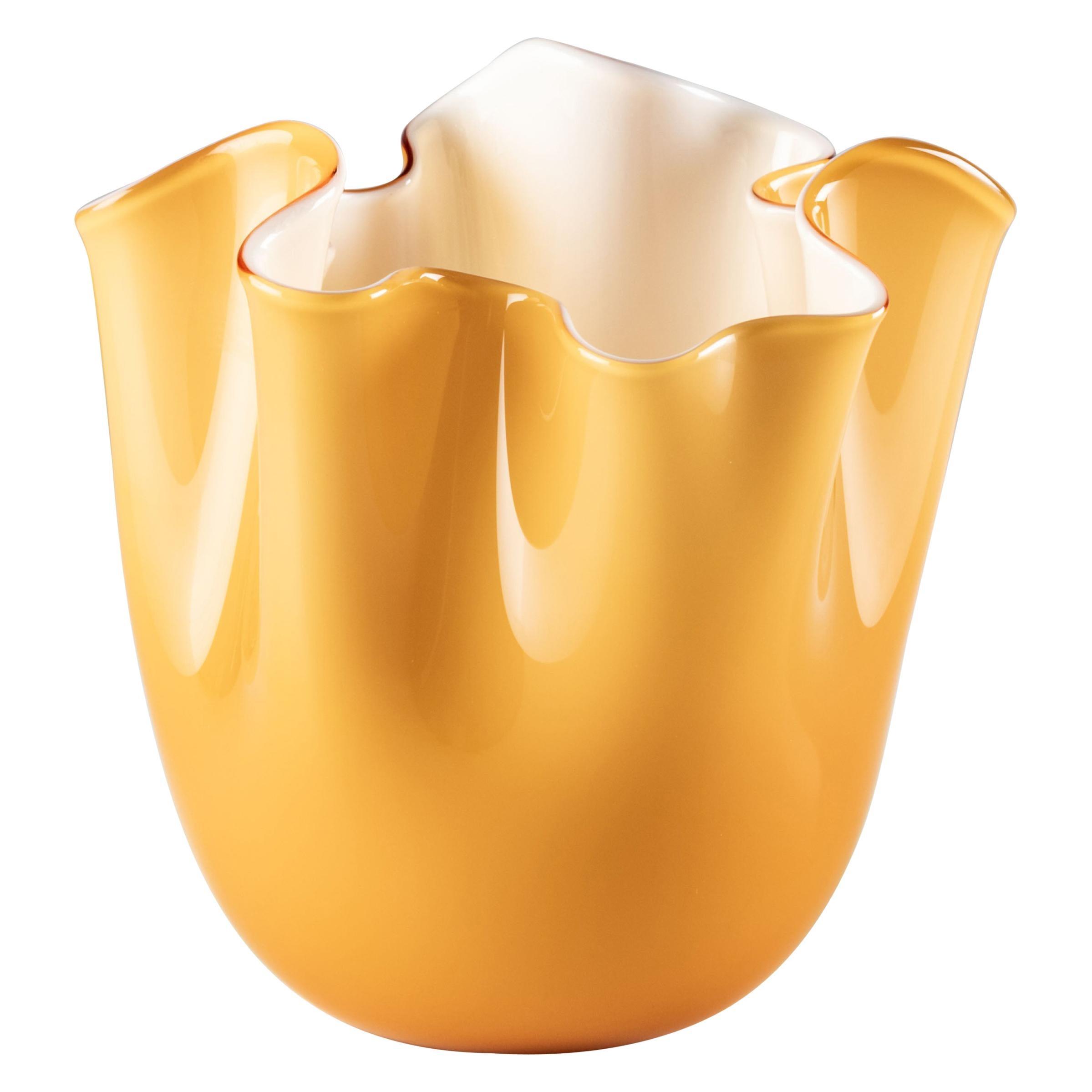 Venini Fazzoletto Opalino Small Vase in Amber Murano Glass
