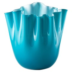 Venini Fazzoletto Opalino Small Vase in Horizon Murano Glass