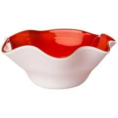 Venini Fazzoletto Ovale Bicolor Red & White Bowl by Fulvio Bianconi & Venini