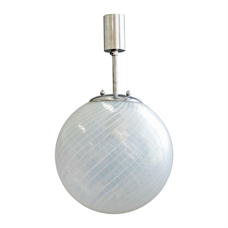 Venini 'Filigrana' Glass Lantern, Italy, 1930s For Sale