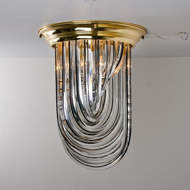 Venini Flush Mount, Brass and Curve Glass with Black Stripe, 1970 For Sale 7