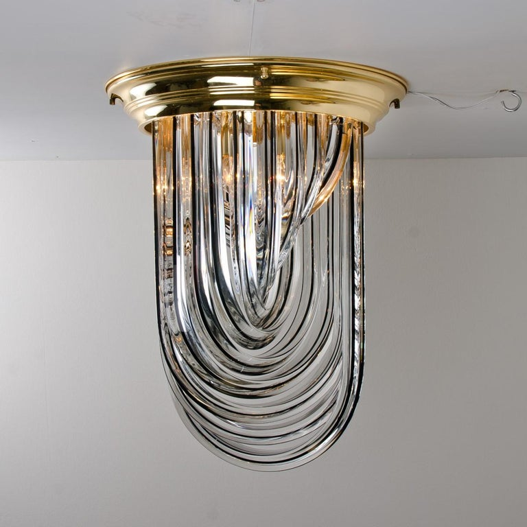 Venini Flush Mount, Brass and Curve Glass with Black Stripe, 1970 For Sale 8