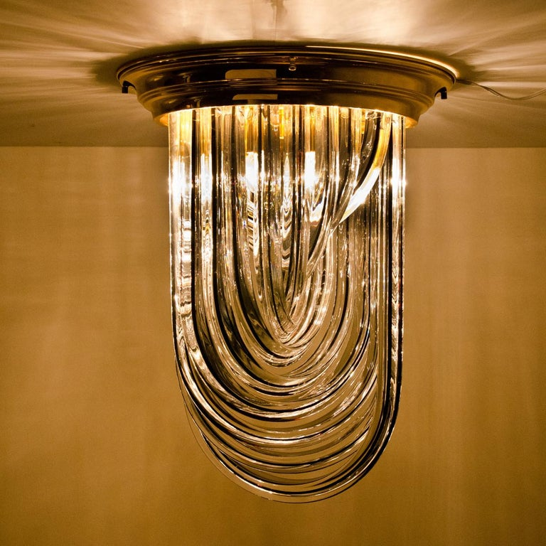 Mid-Century Modern Venini Flush Mount, Brass and Curve Glass with Black Stripe, 1970 For Sale