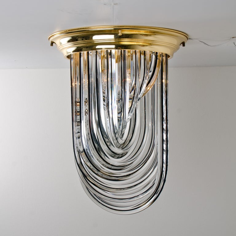 Italian Venini Flush Mount, Brass and Curve Glass with Black Stripe, 1970 For Sale