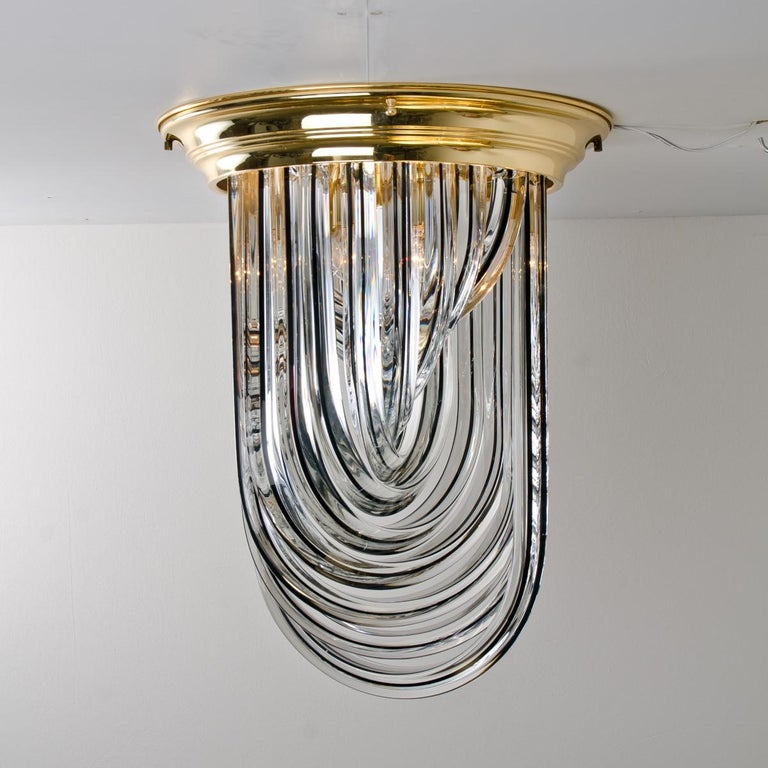 20th Century Venini Flush Mount, Brass and Curve Glass with Black Stripe, 1970 For Sale